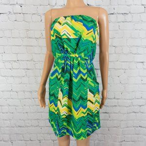 Collective Concepts green and blue strapless dress